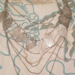 Silvertone leaf necklace